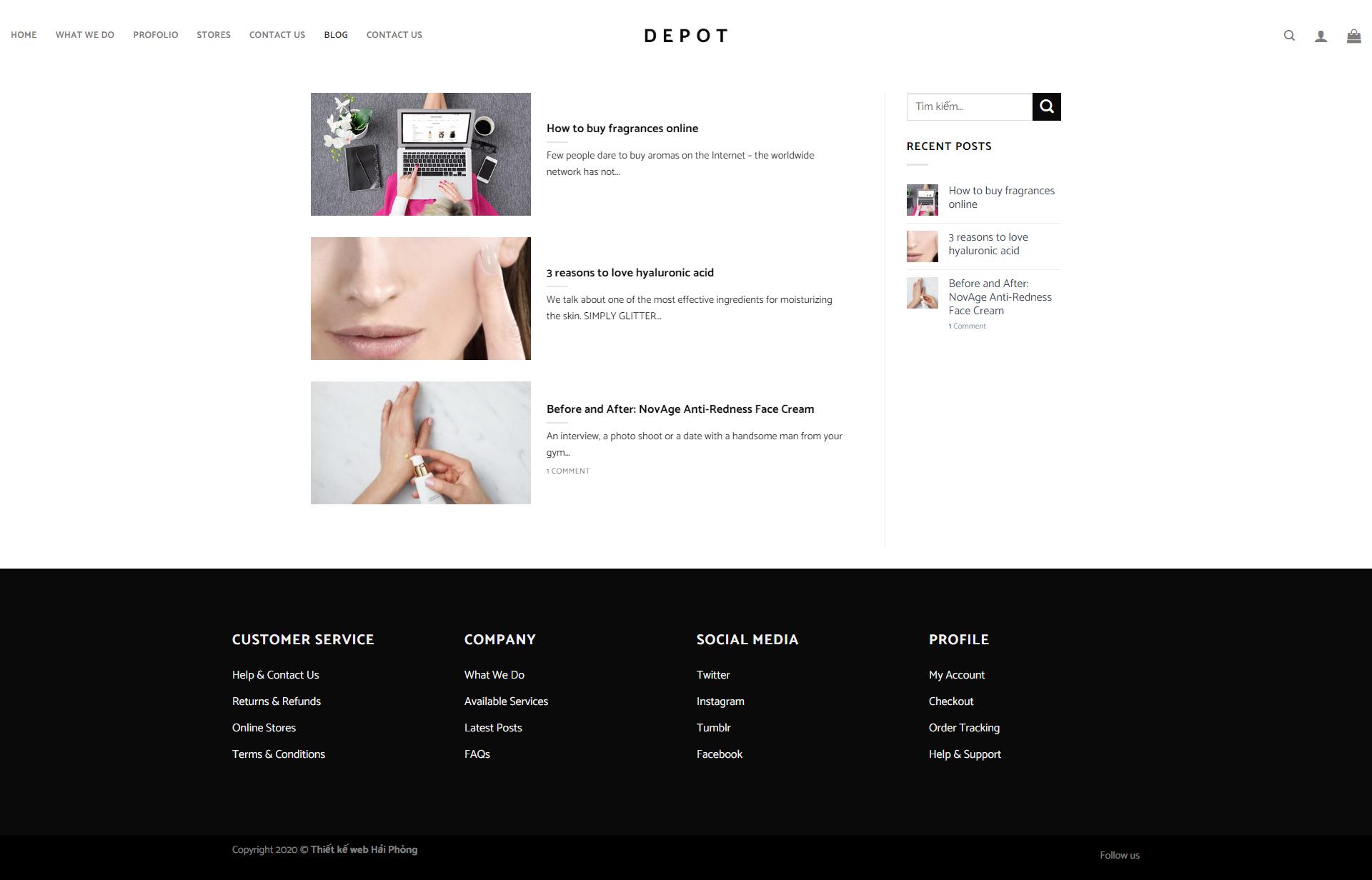 Mẫu web bán hàng phong cách nước ngoài