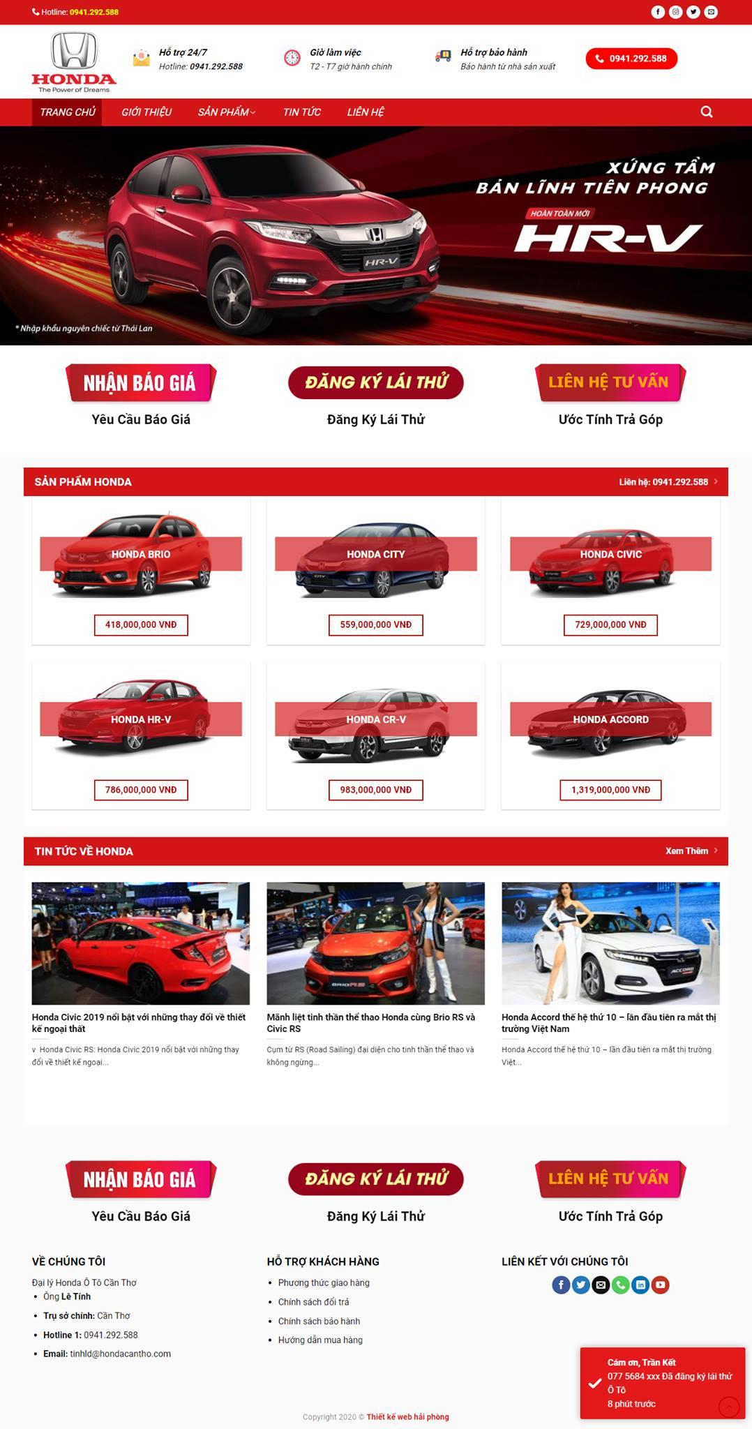 Thiết kế mẫu webgiới thiệu bán ô tô Honda